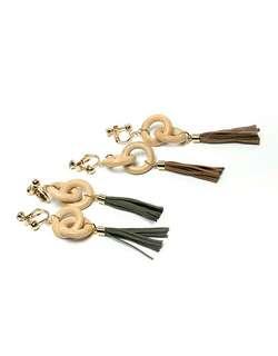 🆕 Made in Korea 木圈吊飾夾式耳環(酒紅/墨綠)