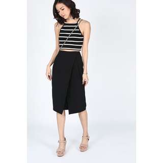 Love Bonito Ozzane foldover skirt, black