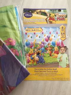 BNIB BNWT Disney Pooh Piglet Tigger Decoration Party Wallpaper Bunting Decor