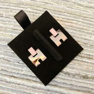 全新 Hermes Baby Pink Eileen Earrings Rose Gold Hardware 經典粉紅拼玫瑰金耳環