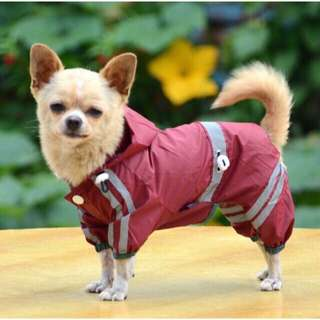 Pet dog/cat waterproof hoodie rain coat with reflective strips and hoodie