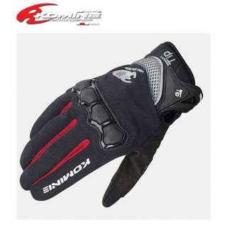 INSTOCK SIZE L ★KOMINE 3D MESH MOTORCYCLE GLOVES GK-162 ★ E-Scooter ★ Motocross★ Scrambler ★ Offroad Dirt Bike ★ Black & Red ★ New arrivals while stock lasts