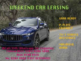WEEKEND RENTALS AT AFFORDABLE RATES!!!☎️Reservation&Enquiries@ Felicia 8822 3303/8206 5888 ❌Alan 9180 8916 Nic 8204 4888 (FAST RESPONSE) WIDE RANGE OF CAR MPV, SUV, SEDANS AND HATCHBACKS