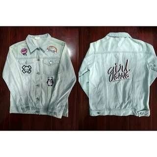 Women's Patched Denim Maong Jacket Embroidered Washed Patch