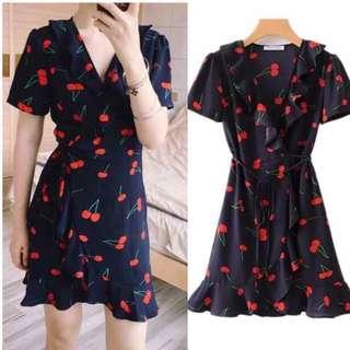 wrap cherry dress