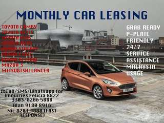MONTHLY CAR RENTALS FOR YOUR OWN PRIVATEW USE OR FOR THE GRAB DRIVERS OUT THERE!!!☎️Reservation&Enquiries@ Felicia 8822 3303/8206 5888 ❌Alan 9180 8916 Nic 8204 4888 (FAST RESPONSE) WIDE RANGE OF CAR SEDANS, SUV, MPV, HATCHBACK