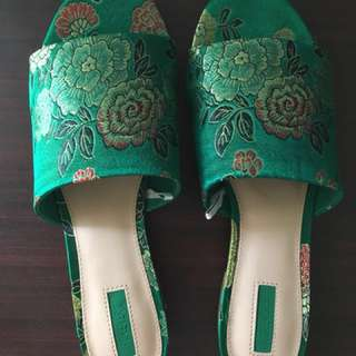 Forever 21 Floral Embroidered Stain Mules- Green