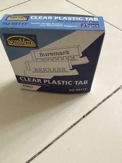 Clear plastic tab