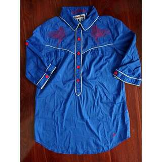 Women's Polo Embroidered Blouse Folded and Hung