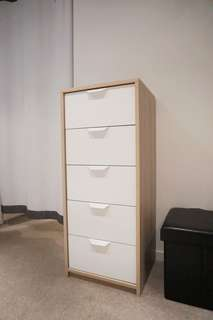 Chest of 5 drawers, white stained oak effect