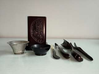 90's Kung Fu Tea Set Wood Accessories All Perfect Condition 7pcs $38