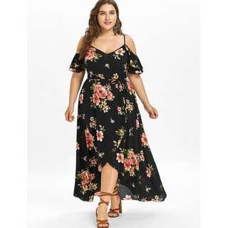 Plus Size Cold Shoulder Floral Overlap Dress - Black