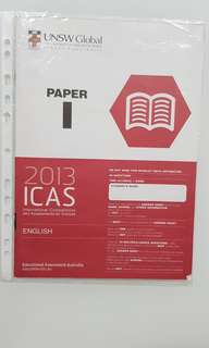 ICAS ENGLISH 2013 PAPER I c/w ANSWER SHEET FOR SECONDARY 4&5