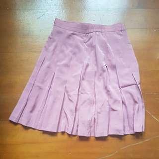 【3件50元衣物共100】粉紅 百折摺短裙 百褶裙