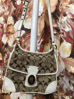 Authentic COACH canvas leather shoulder bag