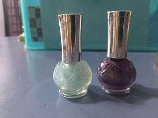 Blue & purple glitter polish