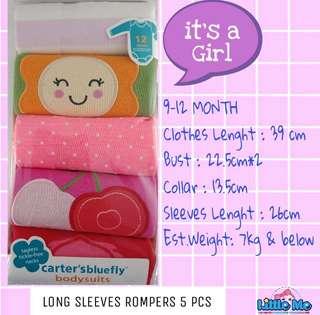 5PCS ROMPERS CARTER LONG SLEEVES GIRL