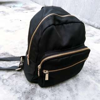 MINI BACKPACK (Black w/ gold details)