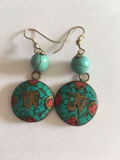 Handcrafted stone earrings from Nepal