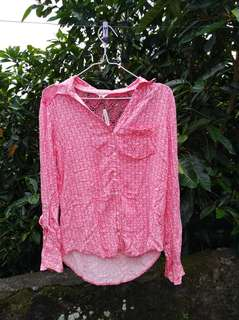 Pink floral aeropostale blouse