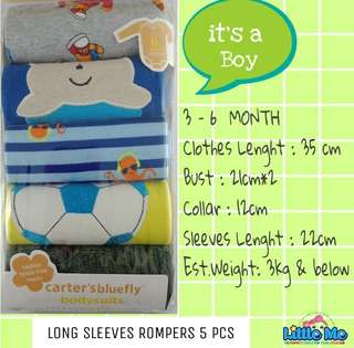 5PCS ROMPERS CARTER LONG SLEEVES BOY