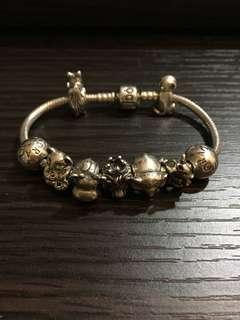 80-85%NEW Pandora Bracelet with Charms 固定扣2粒