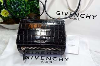 Authentic Givenchy Pandora Box Mini Black Croc embossed. Made in Italy