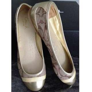 MINT COACH Gold Flats Shoes