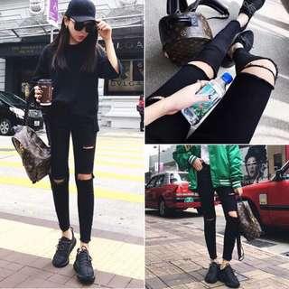 🚚 【貝莉潮流】顯瘦牛仔褲💕韓版新款修身顯瘦破洞爛牛仔褲黑色高腰小腳鉛筆長褲