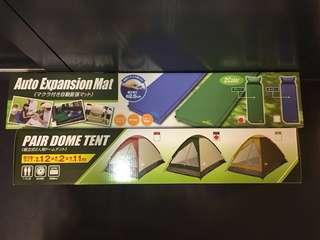 露營專用簡易搭建 輕便收藏帳篷⛺️+自動膨脹氣墊單人床連枕頭 綠色