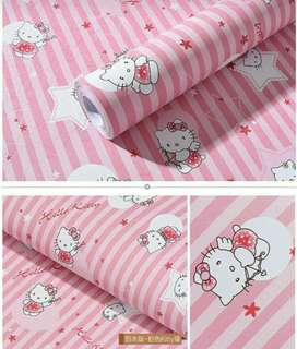 Wallpaper dinding 1roll uk 45cmx10meter tinggal pasang tak perlu lem