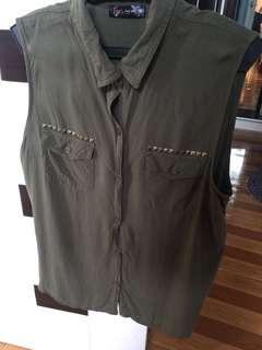 Army green sleeveless