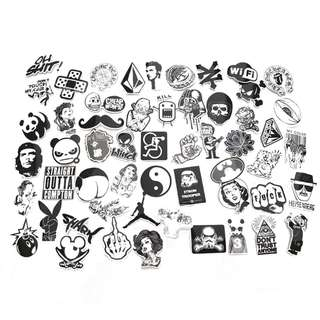 🆕! 100 pieces DIY Black and White Sticker Bomb Decal   #OK