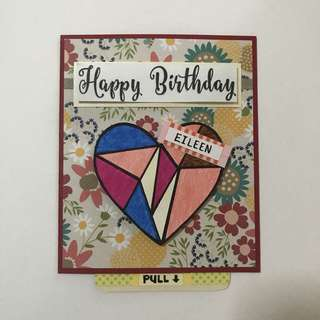 Handmade Push and Pull Birthday Card