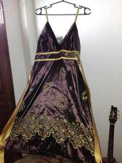 Brown detailed dress