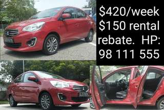 Mitsubishi Attrage for rent. Grab Car Rental.