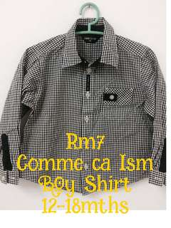 Comme Ca Ism boys collared shirt 12 to 18 mths