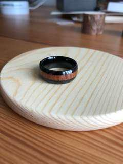 Marble Ring with Wood Texture Lining