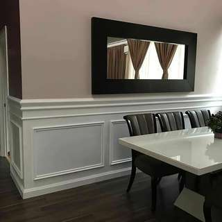 Wainscoting half wall with installation