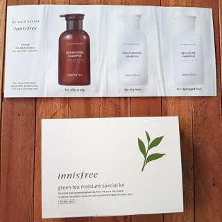 TAKE ALL FREE ONGKIR Innisfree Green Tea Moisture Kit (untuk kulit kering) + My Hair Recipe Kit