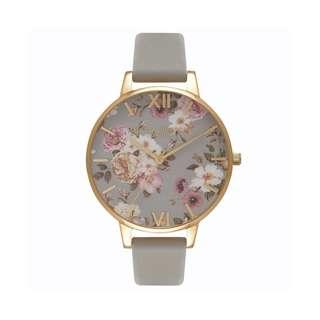 英國品牌 Olivia Burton London Watch 魔法花園 氣質百搭 女 手錶 真皮錶帶 花鳥蝴蝶 38mm (OB061)
