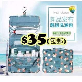 $35(包郵) 韓國 防水旅行必備 多功能洗漱包 (掛鉤款 | 非掛鉤款) 化妝包 收納包 可摺折疊