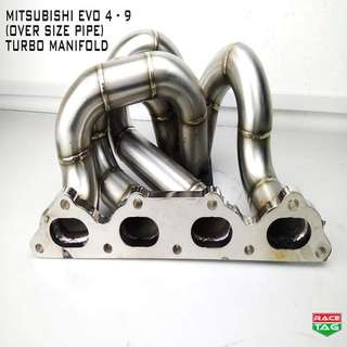 MITSUBISHI EVO 4 5 6 7 8 9 EXHAUST  OVER SIZE PIPE TURBO MANIFOLD