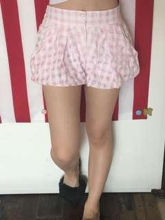 「二手」韓國購入 短褲 花苞褲 格紋 格子 粉紅色 夏天 百搭