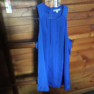 Long Silky Cobalt Blue High neck Sleeveless Top