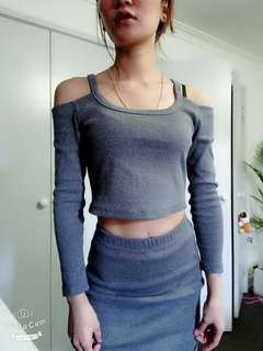 Shoulderless top and long skirt two- piece