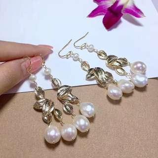 🆕️高品質14K注金葉子🍃淡水珠耳環。