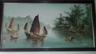 VINTAGE EARLIE 19TH CENTURY CHINESE JUNK BOATS HOUSES TREES / AUCTION SALE