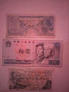 Duit kuno 1 rupiah tahun 1956 dn1961