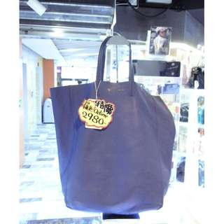 Celine Blue Leather Cabas Shopping Tote Handbag Hand Bag 塞利 藍色 真皮 皮革 手挽袋 手袋 肩袋 袋 購物袋